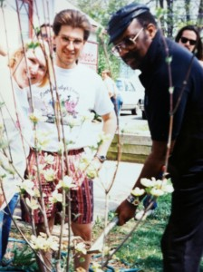 Merle Saunders plants a tree at WTC. Circa early 90s